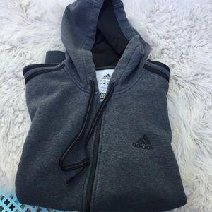 Adidas zip down jacket gray
